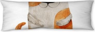 Poduszka relaksacyjna Pies uśmiecha się z ptakiem. akwarela ilustracja