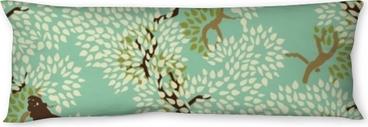 Poduszka relaksacyjna Streszczenie kwiatowy wzór. drzewa i małpy. drewno egzotyczne