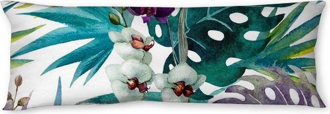 Poduszka relaksacyjna Wzór z liśćmi hibiskusa i orchidei, akwarela - iStaging