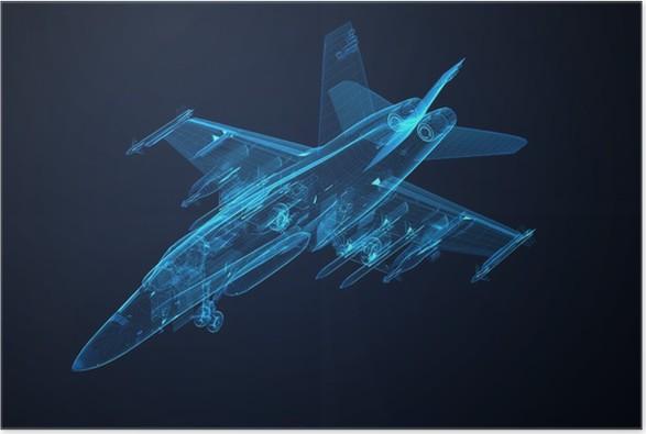 Poster 3d Drahtmodell Skizze von F-18 Hornet • Pixers® - Wir leben ...