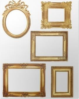 Poster 5 alte Holzrahmen auf weißen Hintergrund Gold