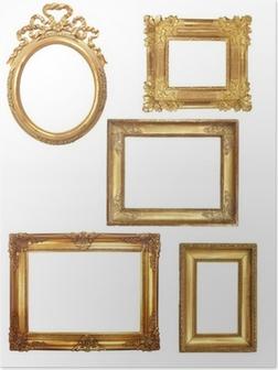 Poster 5 vecchie cornici di legno su sfondo bianco dorato