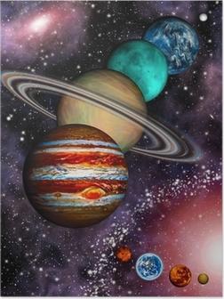 Poster 9 Planeten des Sonnensystems, Asteroidengürtel und Spiralgalaxie.