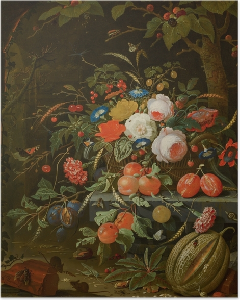 Poster Abraham Mignon - Flowers and Fruit - Reproduktion