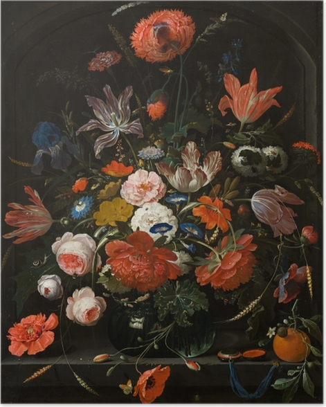 Poster Abraham Mignon - Flowers in a Glass Vase - Reproduktion