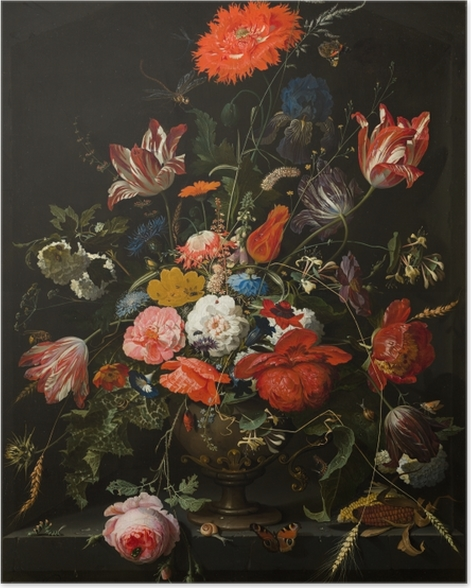 Poster Abraham Mignon - Flowers in a Metal Vase - Reproduktion