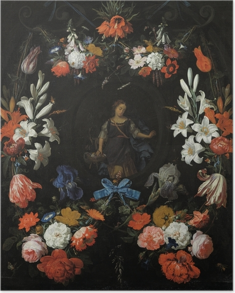 Poster Abraham Mignon - Garland of Flowers - Reproduktion