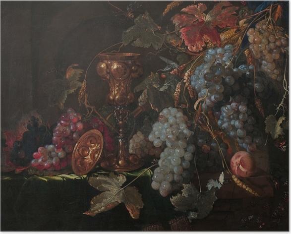 Poster Abraham Mignon - Grape and silverware cup on an entablature - Riproduzioni