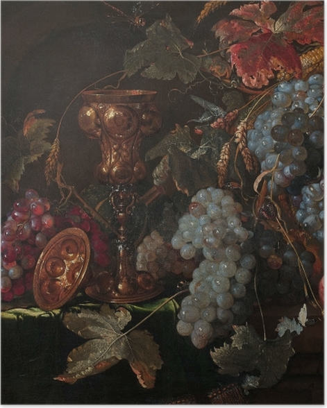Poster Abraham Mignon - Grape and silverware cup on an entablature - Reproduktion