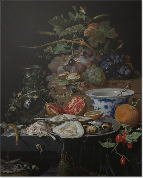 Poster Abraham Mignon - Still Life with Flowers, Oysters and a Porcelain Bow - Reproduktion