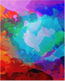 Poster Abstract Aquarell Palette der Farben der Mischung