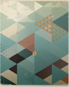 Poster Abstract Retro Geometrische Hintergrund mit Wolken