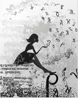 Poster Abstrakten Design mit einem Mädchen grunge Text