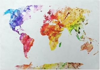 Poster Acquerello mappa del mondo