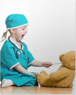 Poster Adorabile bambino vestito da medico giocando con il giocattolo su bianco