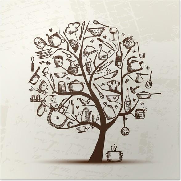 Poster Albero arte con utensili da cucina, disegno schizzo per il ...