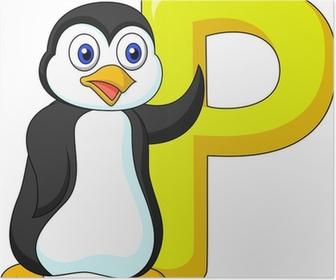 Quadro su tela alphabet p con cartone animato pinguino u2022 pixers
