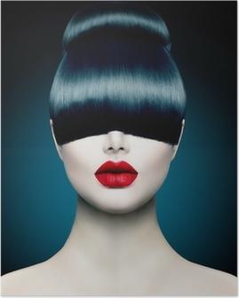 Poster Alta Modella Ragazza Ritratto con Fringe Trendy