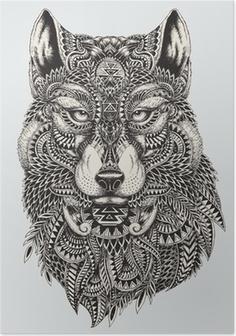 Poster Altamente dettagliata illustrazione astratta lupo