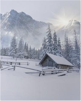 Poster Altes Bauernhaus in den Bergen.