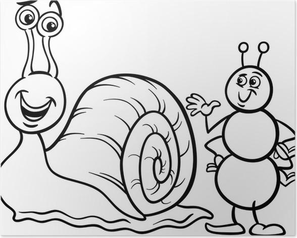 Poster Ameise und Schnecke Malvorlagen • Pixers® - Wir leben, um zu ...