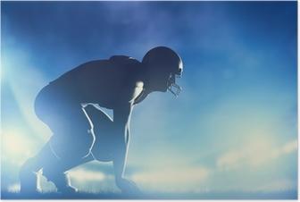 Poster American-Football-Spieler im Spiel. Stadion Lichter