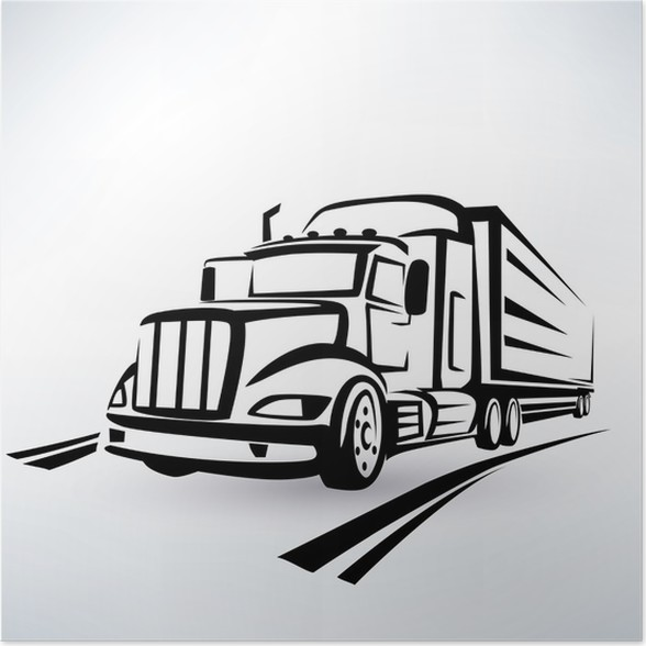 Poster Amerikanischer Lkw-Vektor-Silhouette, LKW Skizze umrissen ...