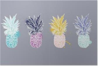 Poster Ananas tropische Früchte. Vector-Objekt.