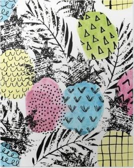 Poster Ananas variopinto con acquerello e grunge texture seamless pattern