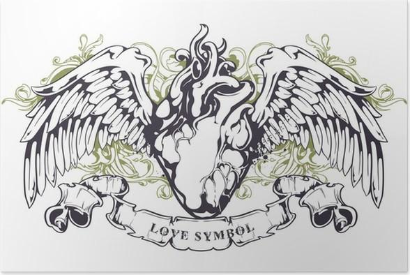 Poster Anatomische Herz mit Flügeln • Pixers® - Wir leben, um zu ...