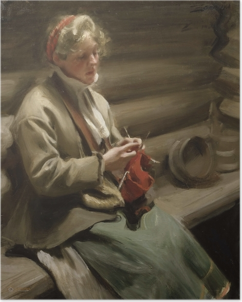 Poster Anders Zorn - Ein strickendes Mädchen aus Dalarna - Reproductions