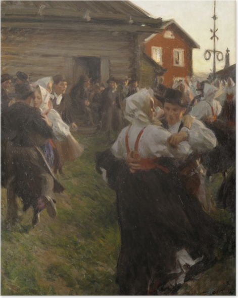 Poster Anders Zorn - Mittsommertanzt - Reproductions