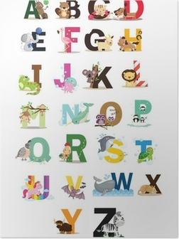 Poster Animal Letter Vector Set