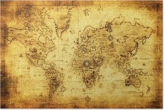 Poster Antica mappa del mondo