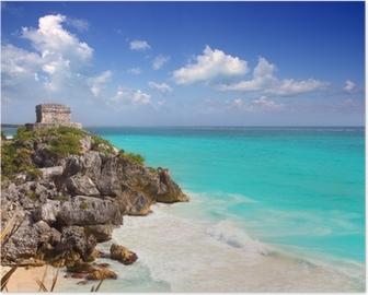 Poster Antiche rovine Maya di Tulum turchese dei Caraibi