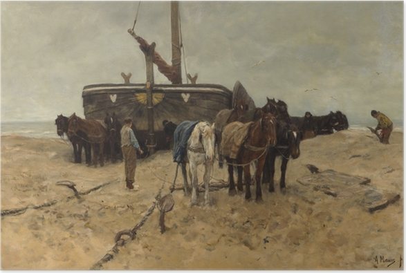 Poster Anton Mauve - Fischerboot am Strand - Reproductions