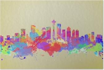 Poster Aquarell-Kunstdruck auf die Skyline von Seattle USA