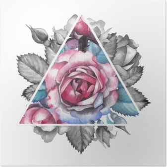 Poster Aquarell Rose Vignette