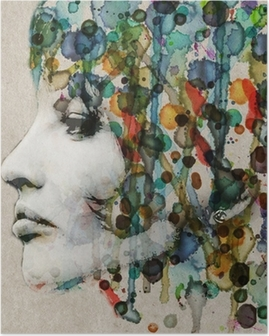 Poster Aquarell weibliches Profil