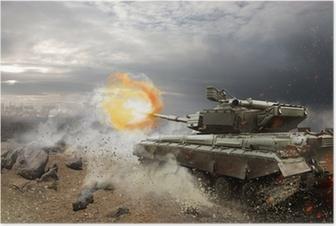 Poster Armatura pesante nel fuoco della battaglia