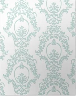 Poster Artvektorverzierungsimperialart der Vektorweinlese. verziertes Blumenelement für Gewebe, Gewebe, Design, Hochzeitseinladungen, Grußkarten, Tapete. opalblaue Farbe