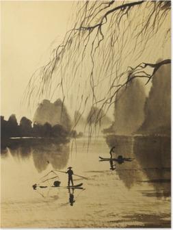 Poster Asiatische Berge und den See