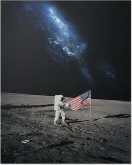 Poster Astronaut Gehen auf Mond. Elemente dieses Bildes von N eingerichtet