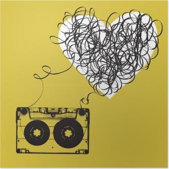 Poster Audiocassette con nastro aggrovigliato. a forma di haert