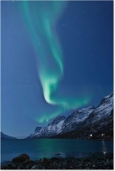 Poster Aurora Borealis in Norwegen, reflektiert