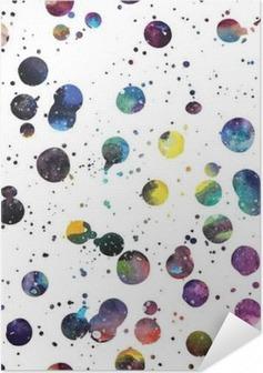 Poster Autoadesivo Acquerello Galaxy sfondo.