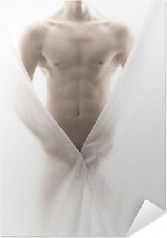 Poster Autoadesivo Anteriore di un corpo maschio parzialmente nudo