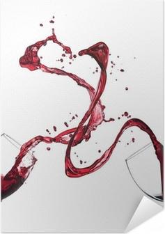 Poster Autoadesivo Concetto di spruzzi di vino rosso di occhiali su sfondo bianco