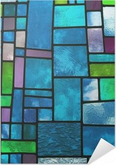 Poster Autoadesivo Finestra di vetro blu macchiato multicolore, formato quadrato