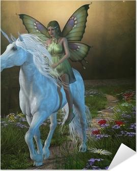 Poster Autoadesivo Foresta Fata e Unicorn